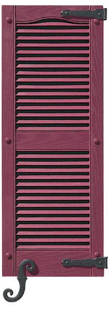 Louver Shutter with Decorative Hook & Hinge